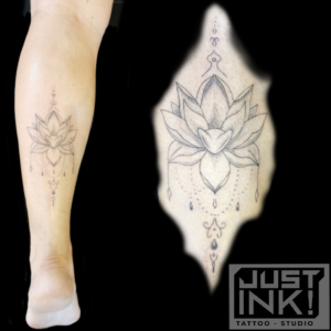 tattoo lotus op kuit